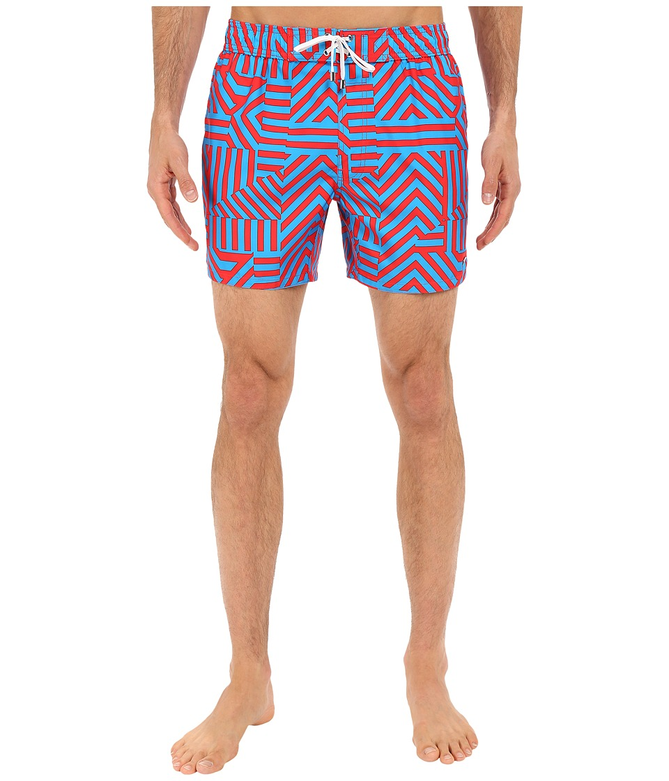 2(X)IST - Block Stripe Hampton (Electric Red) Men's Swimwear
