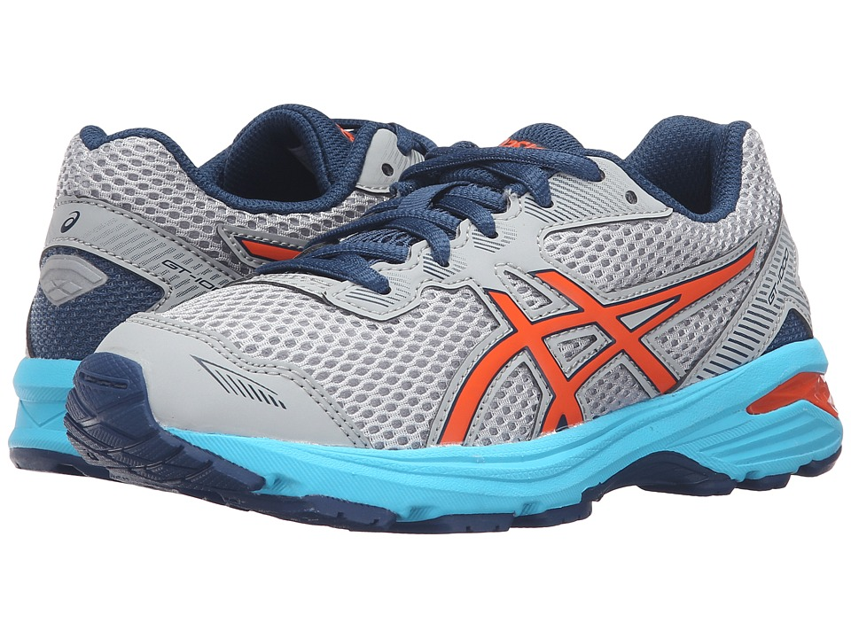 ASICS Kids GT-1000 5 GS (Little Kid/Big Kid) (Mid Grey/Flame Orange/Poseidon) Boys Shoes