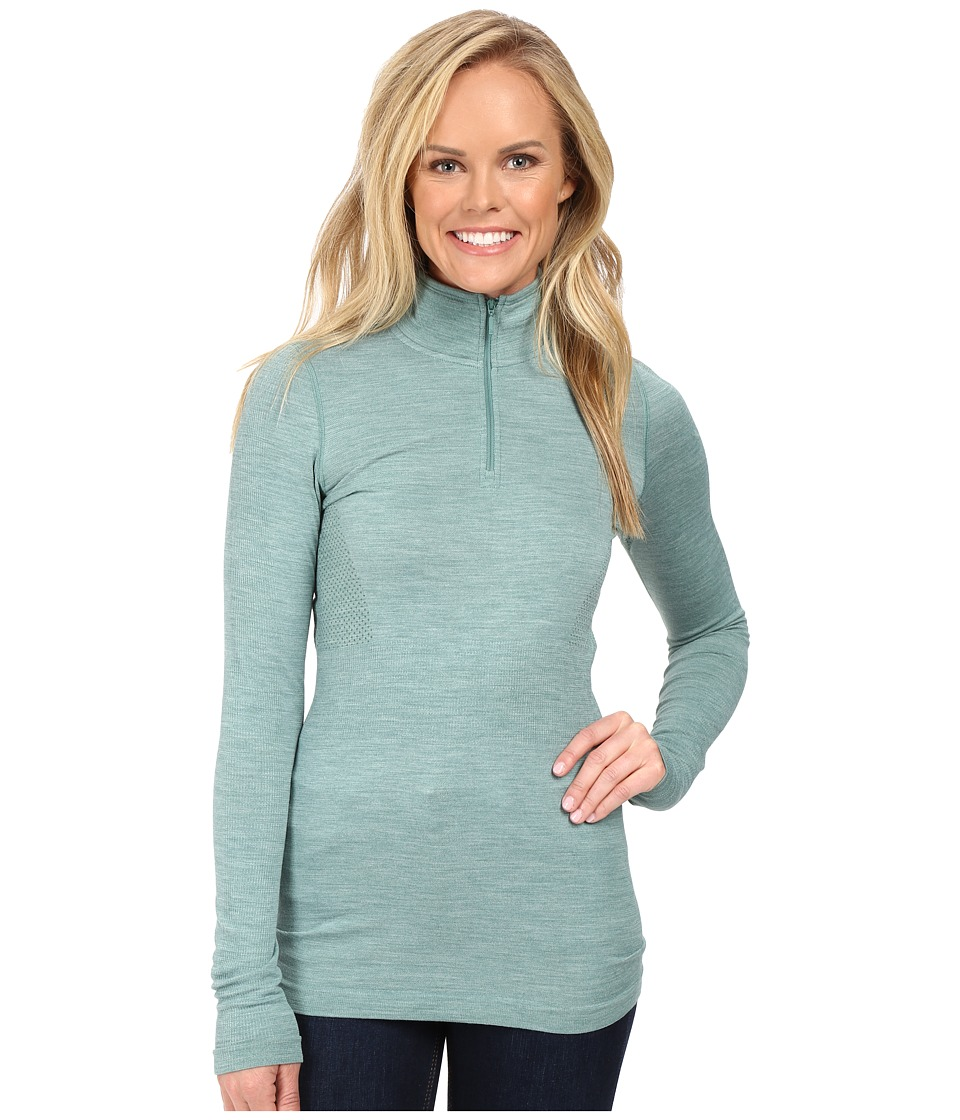 The North Face - Long Sleeve Go Seamless Wool 1/4 Zip (Deep Sea Light Heather (Prior Season)) Women's Long Sleeve Pullover