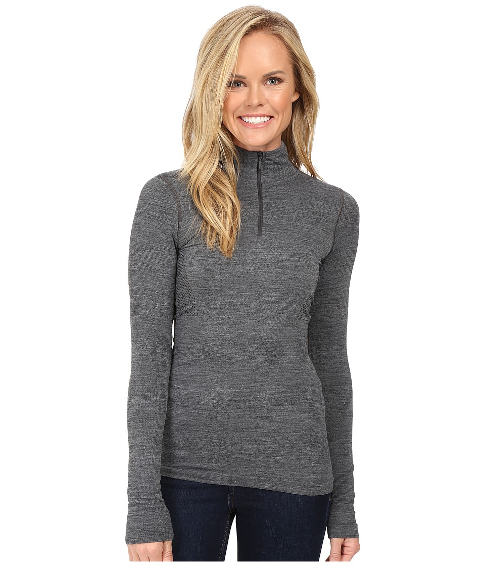 The North Face - Long Sleeve Go Seamless Wool 1/4 Zip (TNF Dark Grey Heather) Women's Long Sleeve Pullover