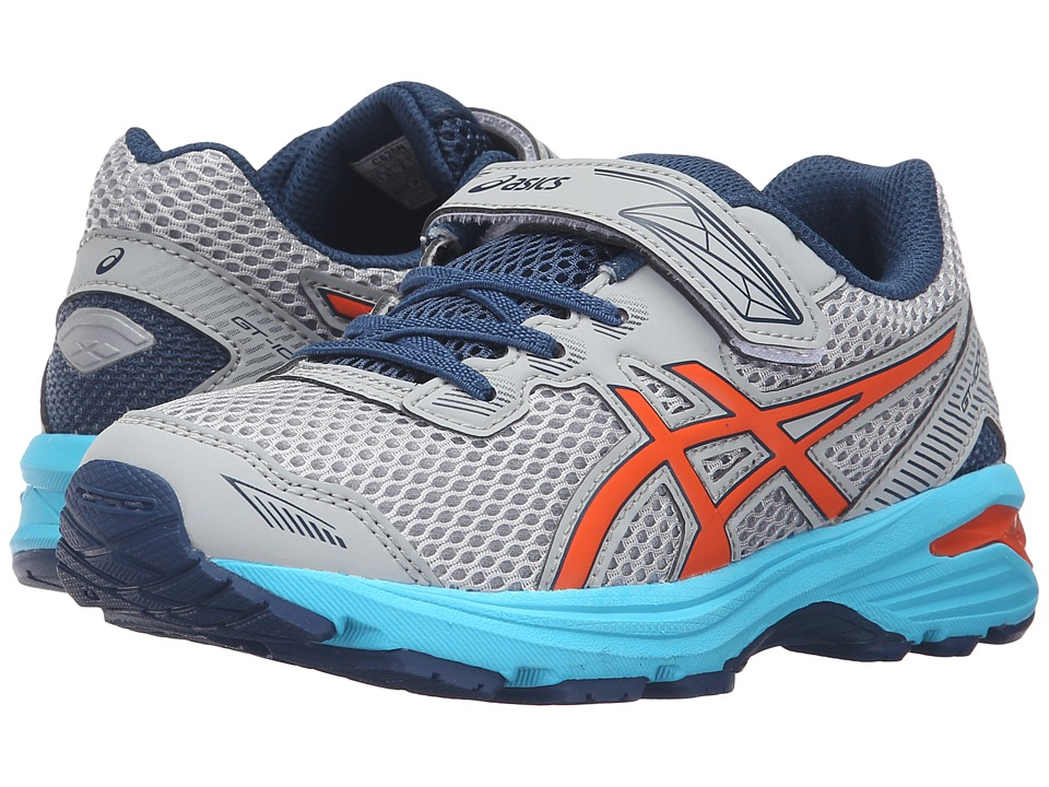 ASICS Kids - GT-1000 5 PS (Toddler/Little Kid) (Mid Grey/Flame Orange/Poseidon) Boys Shoes