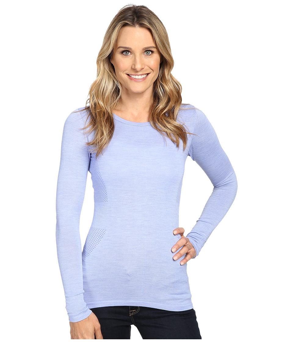 The North Face - Long Sleeve Go Seamless Wool Top (Grapemist Blue Dark Heather) Women's Long Sleeve Pullover
