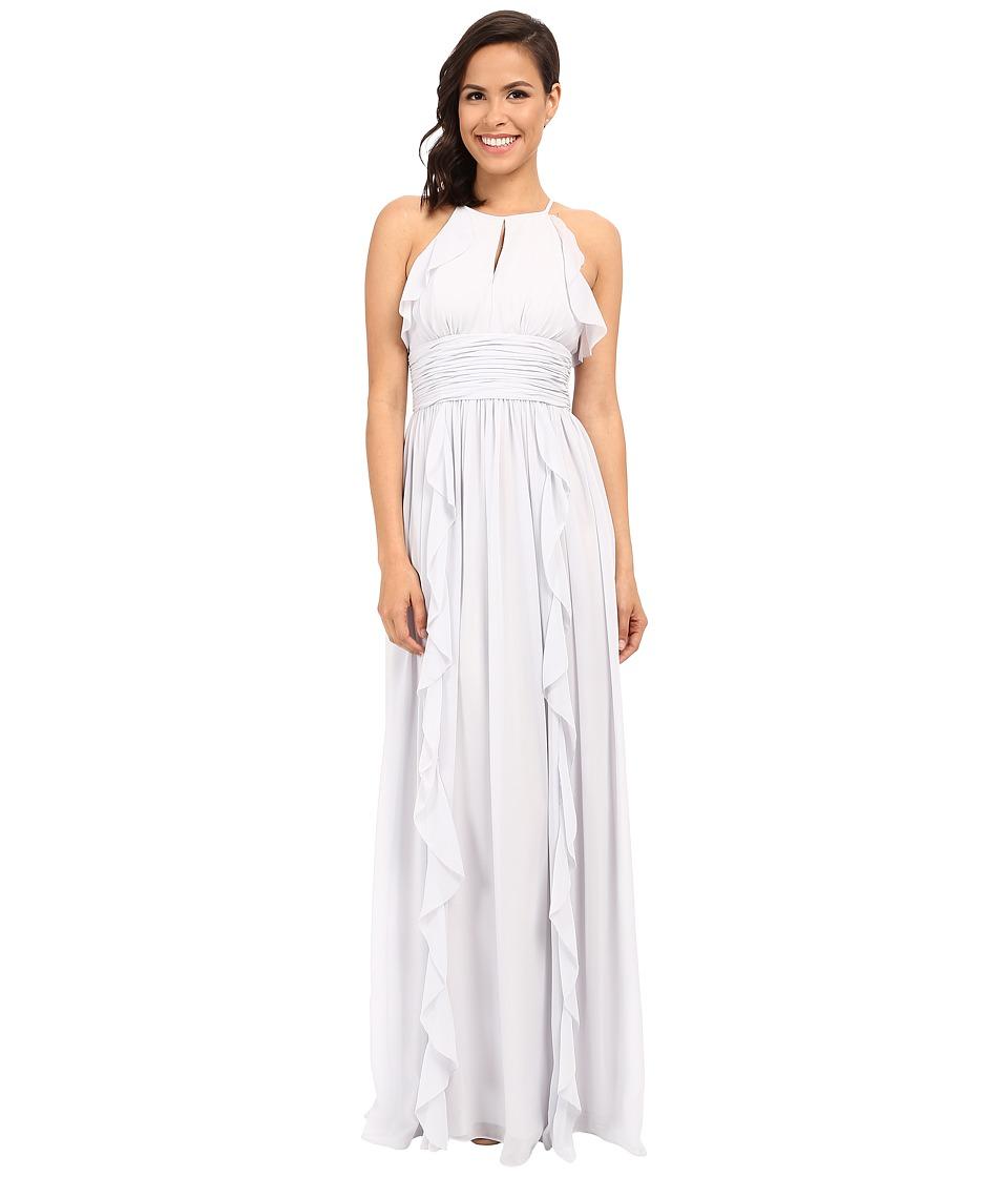 Donna Morgan Skye Cutaway Halter Gown Dove Dress