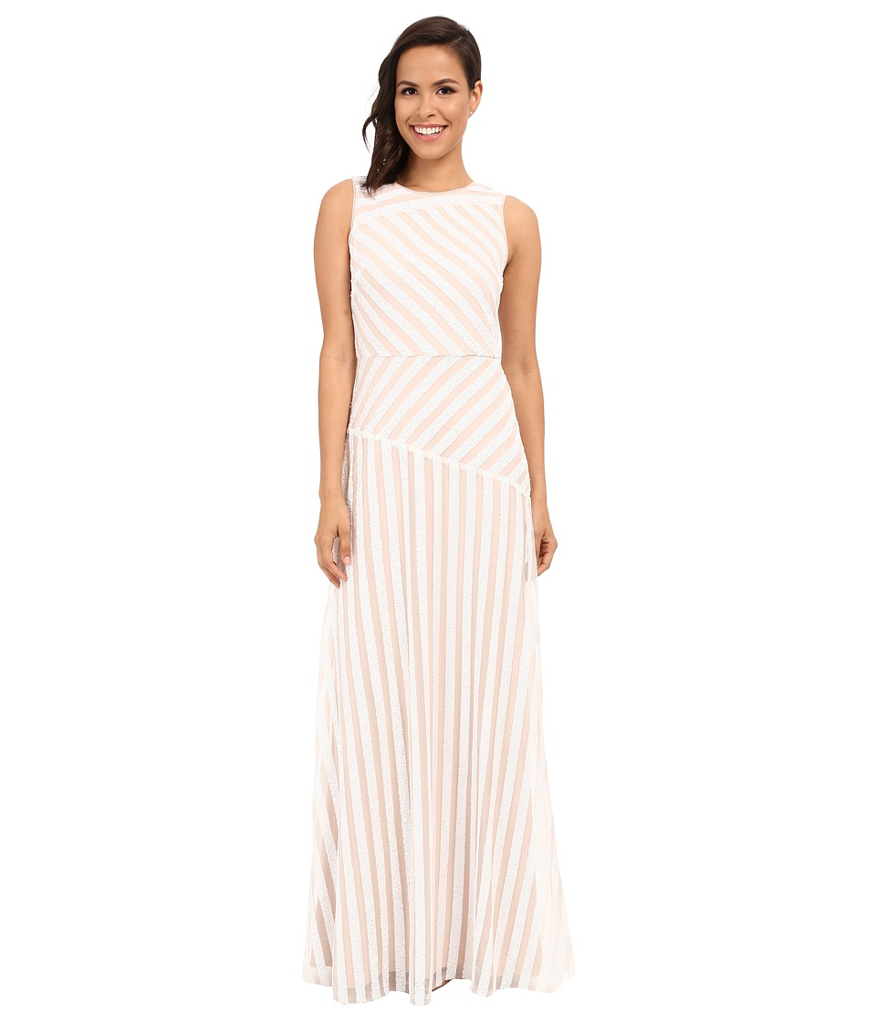 Donna Morgan - Gigi Boat Neck Striped Sequin Gown (Ivory/Nude) Women's Dress