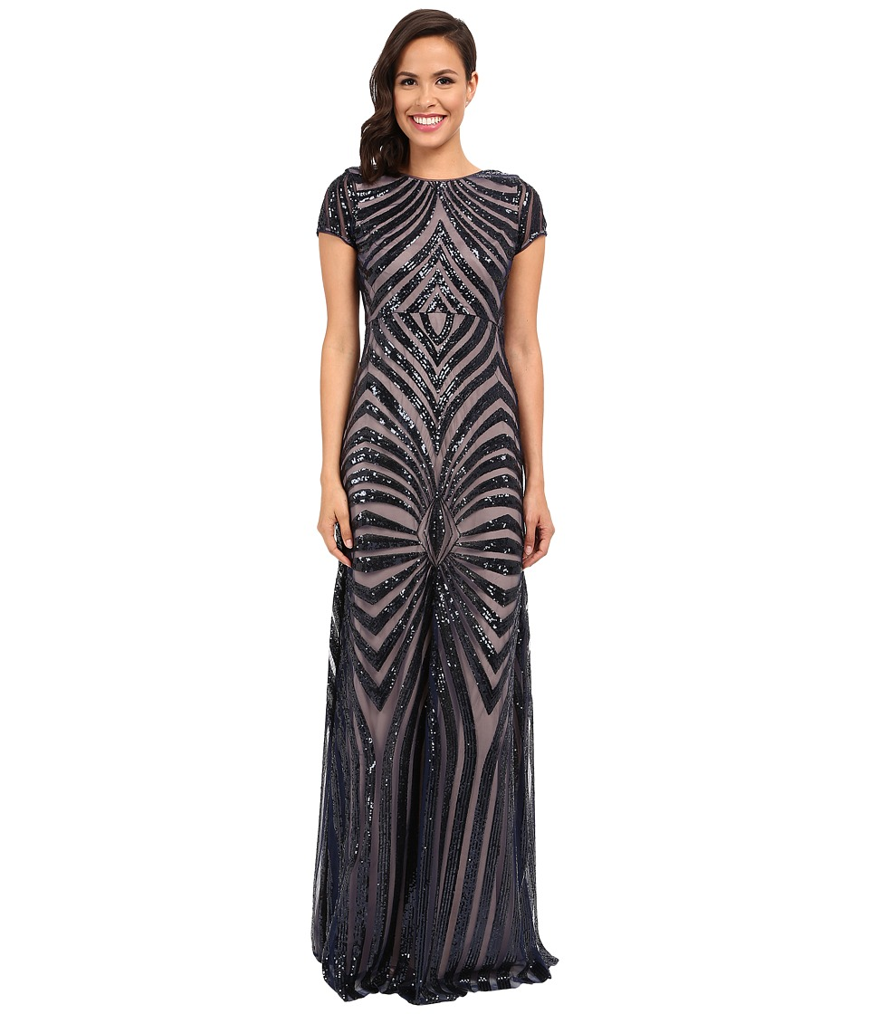 Donna Morgan - Isabelle Cap Sleeve Beaded Gown (Midnight/Nude) Women's Dress