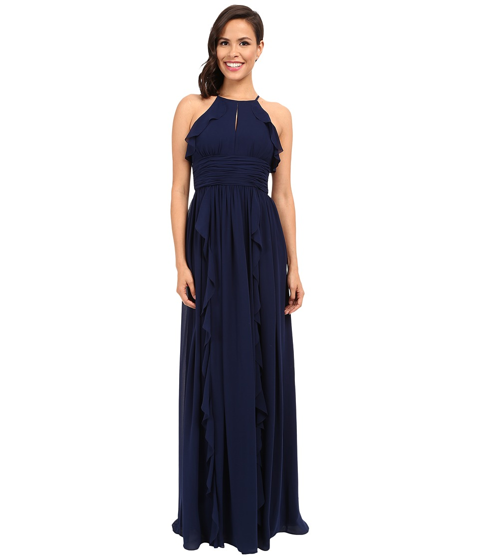 Donna Morgan - Skye Cutaway Halter Gown (Midnight) Women's Dress
