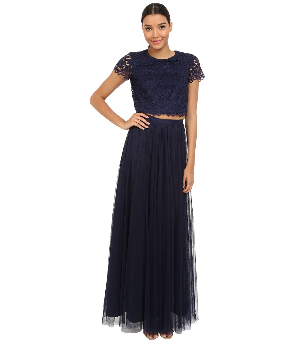 Donna Morgan Amelia Cap Sleeve Top Tulle Skirt Indigo Dress