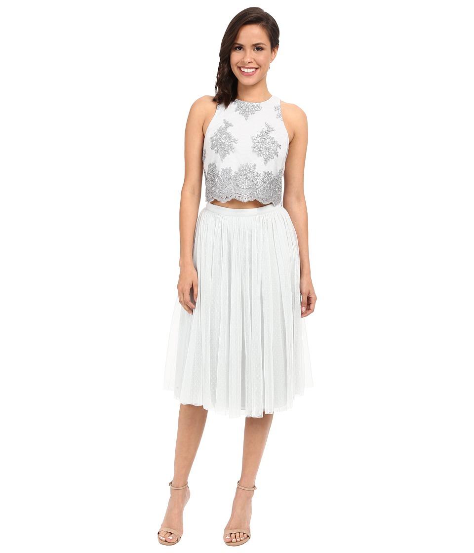 Donna Morgan Beatrix Lace Bodice Skirt Whisper Dress