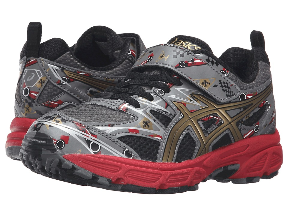 ASICS Kids - Pre-Turbo PS (Toddler/Little Kid) (Carbon/Rich Gold/Vermillion) Boys Shoes
