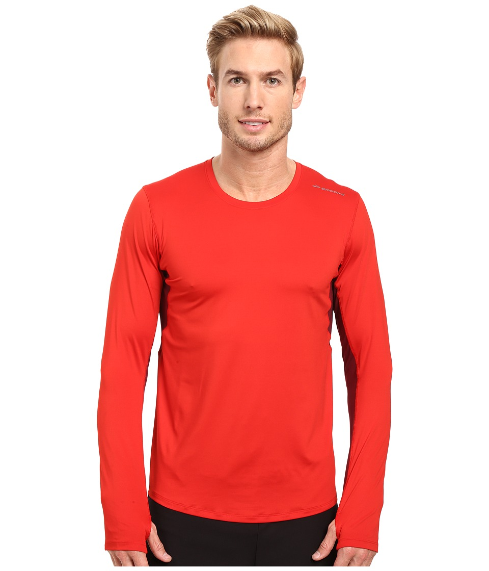 Brooks - Steady Long Sleeve Top (Lava/Root) Men's Long Sleeve Pullover