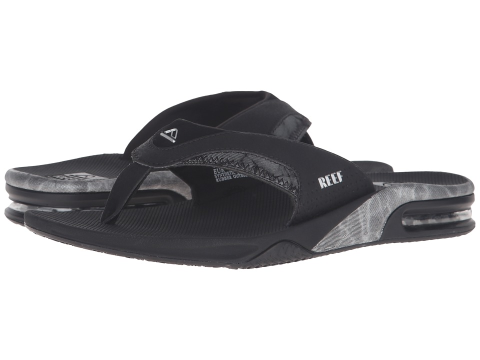 Reef - Fanning Prints (Silver/Black) Men's Sandals