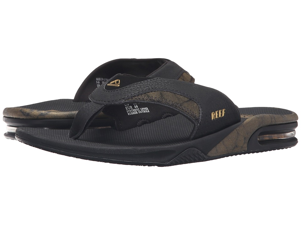 Reef - Fanning Prints (Black/Gold) Men's Sandals