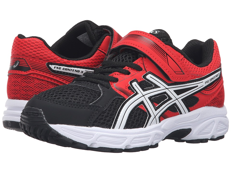 ASICS Kids - Pre-Contend 3 PS (Toddler/Little Kid) (Black/White/Vermillion) Boys Shoes