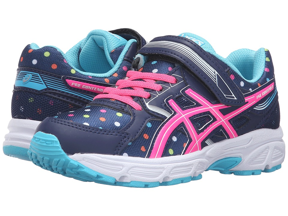 ASICS Kids - Pre-Contend 3 PS (Toddler/Little Kid) (Indigo Blue/Pink Glow/Aquarium) Girls Shoes