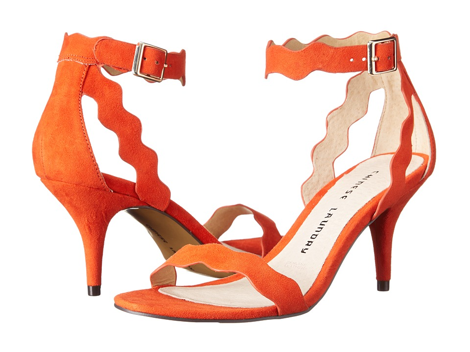Chinese Laundry - Rubie Scalloped Sandal (Sweet Orange Micro Suede) High Heels