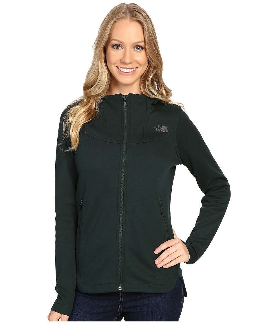 The North Face Slacker High Collar Full Zip (Scarab Green Dark Heather) Women
