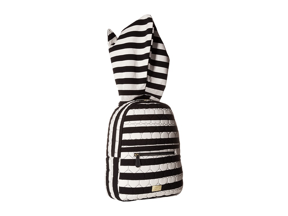 Luv Betsey - Jersey Stripe Hoodie Backpack w/ Cat Ears (Black/White) Backpack Bags