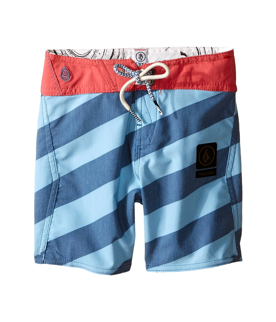 Volcom Kids - Stripey Slinger Boardshorts (Toddler/Little Kids) (Smokey Blue) Boy's Swimwear