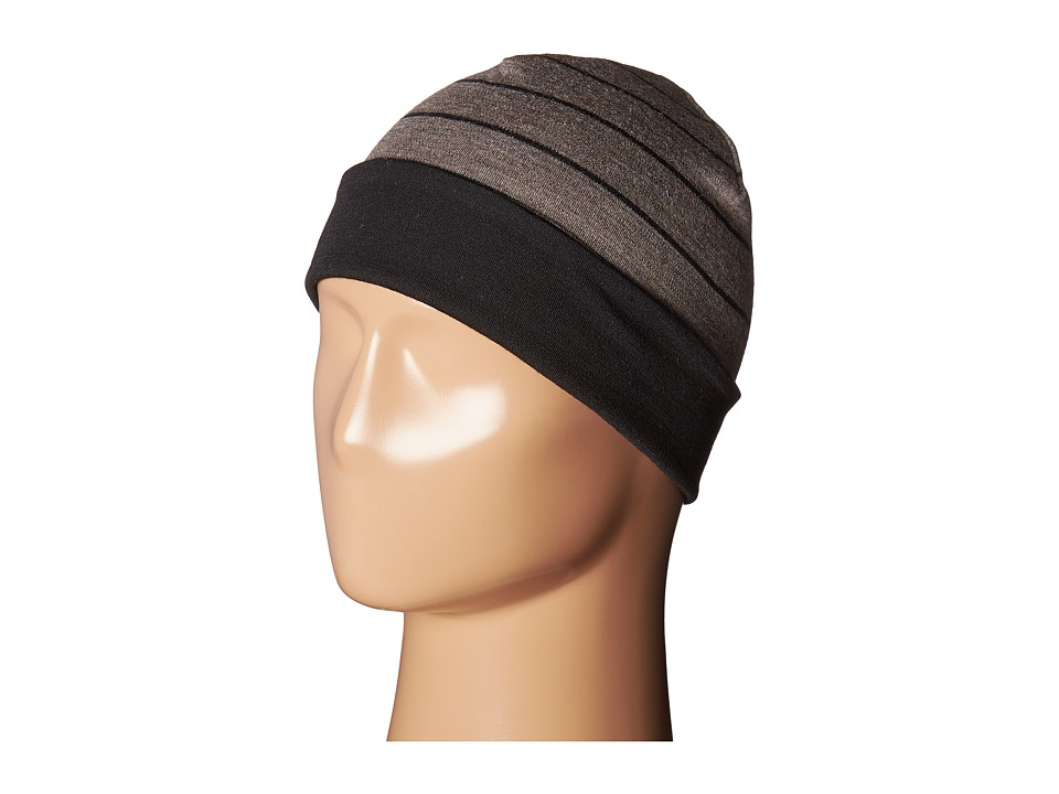 Smartwool - NTS Mid 250 Reversible Pattern Cuffed Beanie (Black/Taupe Heather) Beanies