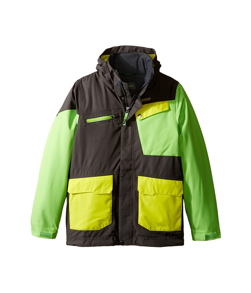 Marmot Kids - Boy's Space Walk Jacket (Little Kids/Big Kids) (Slate Grey/Vibrant Green) Boy's Jacket