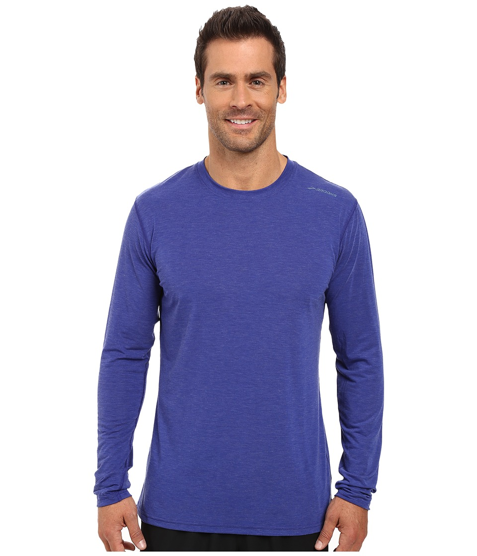 Brooks - Distance Long Sleeve Top (Heather Basin) Men's Long Sleeve Pullover