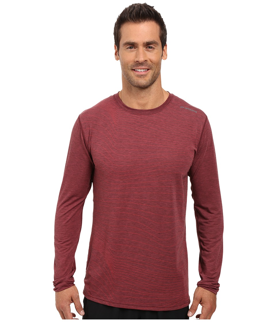 Brooks - Distance Long Sleeve Top (Heather Root Forge) Men's Long Sleeve Pullover