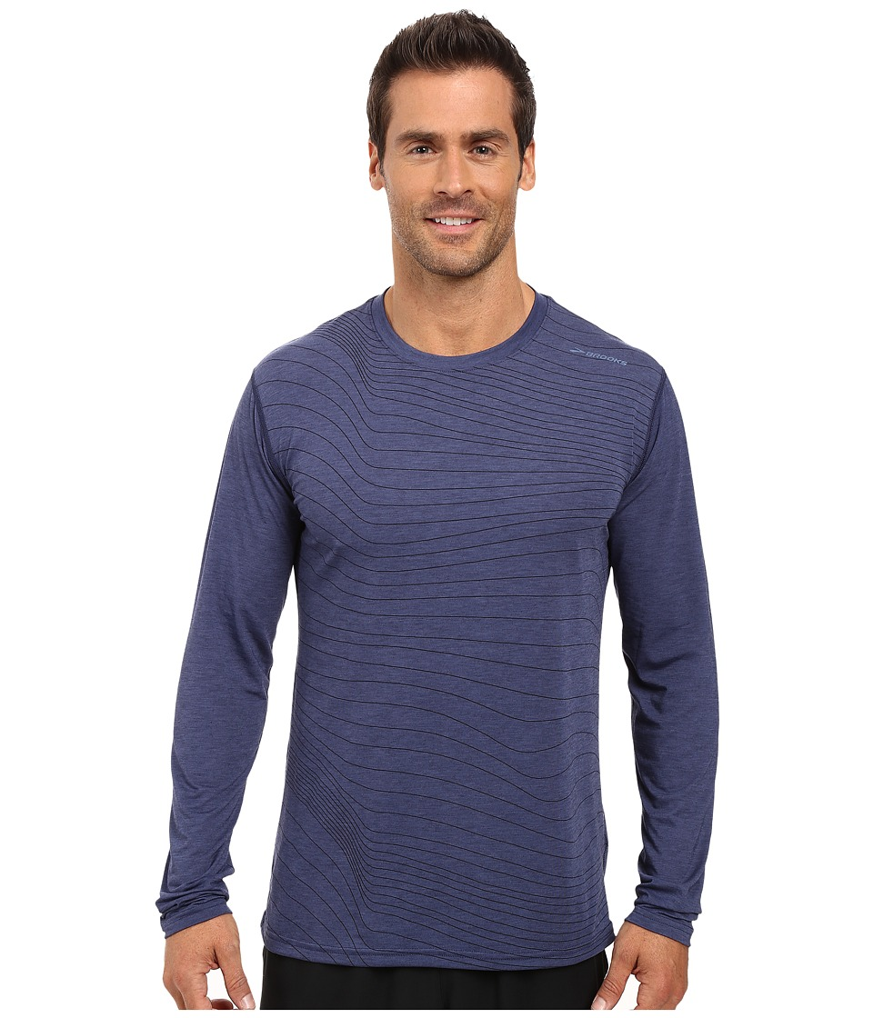Brooks - Distance Long Sleeve Top (Heather Coast Forge) Men's Long Sleeve Pullover