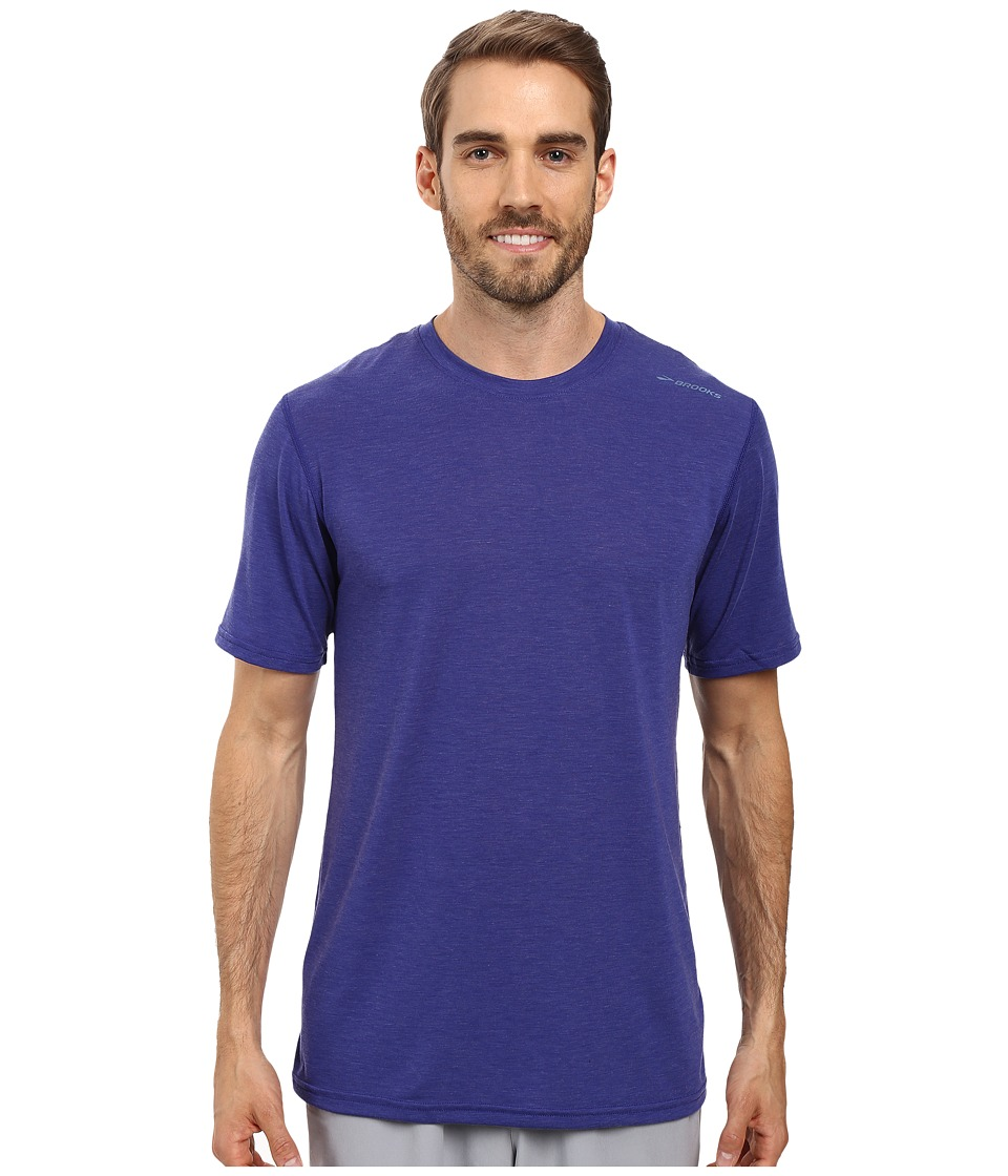 Brooks - Distance Short Sleeve (Heather Basin) Men's Short Sleeve Pullover