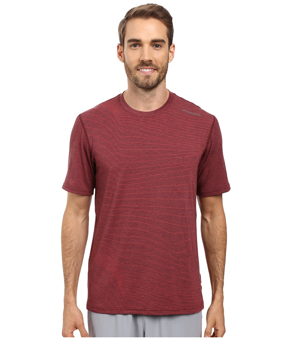 Brooks - Distance Short Sleeve (Heather Root Forge) Men's Short Sleeve Pullover