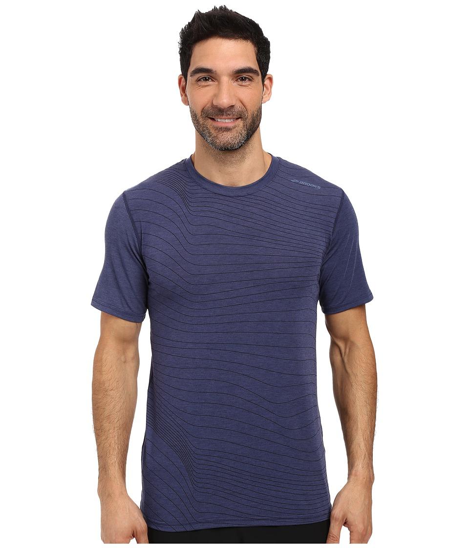 Brooks - Distance Short Sleeve (Heather Coast Forge) Men's Short Sleeve Pullover