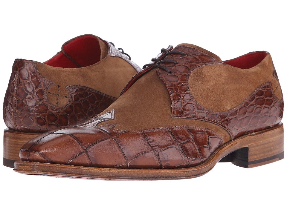 Jeffery-West - Arrow Gibson (Missouri Tan Croco/Cognac Suede) Men's Shoes
