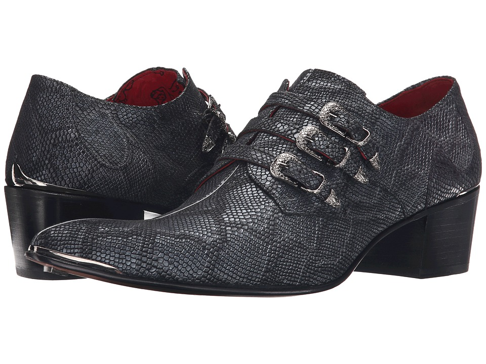Jeffery-West - Triple Buckle Monk (Pitone Negro/Anthracite) Men's Shoes