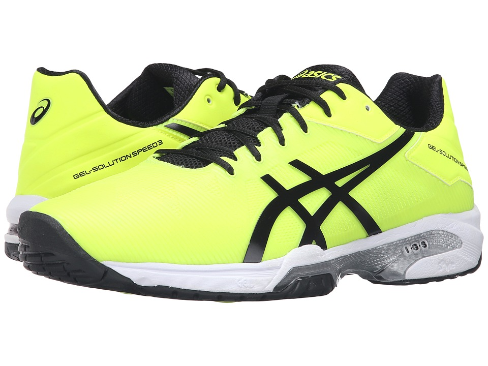 ASICS - Gel-Solution(r) Speed 3 (Safety Yellow/Black/White) Men's Tennis Shoes