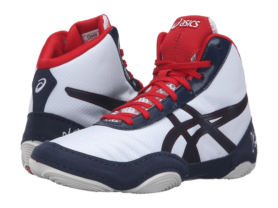 ASICS Kids - JB Elite GS (Little Kid/Big Kid) (White/Dark Navy/True Red) Kids Shoes