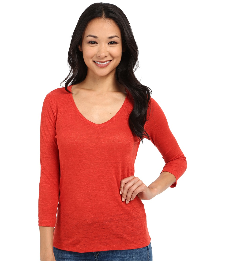 Pendleton - Petite 3/4 Sleeve V-Neck Tee (Cayenne) Women's Long Sleeve Pullover