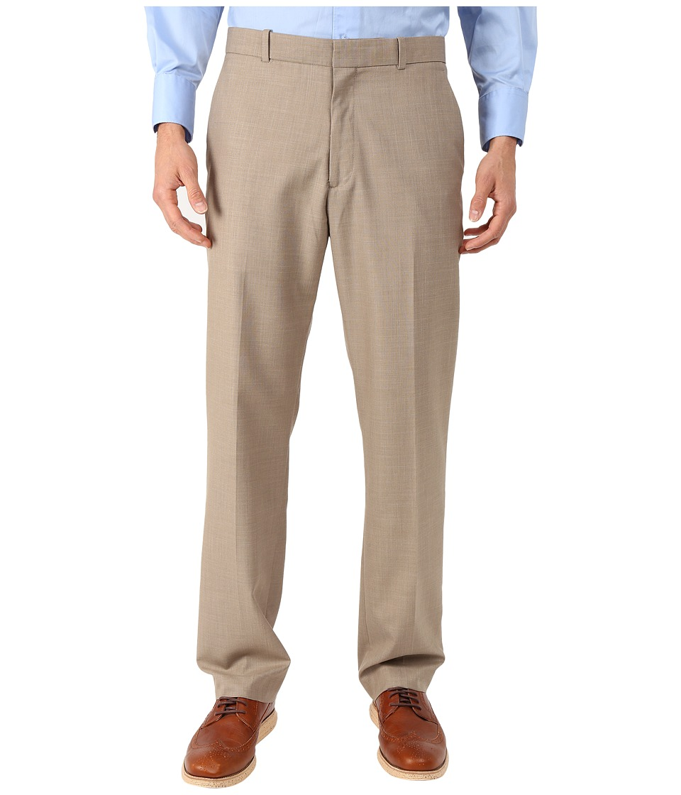 Perry Ellis - Solid Texture Flat Front Suit Pants (Natural Linen) Men's Casual Pants