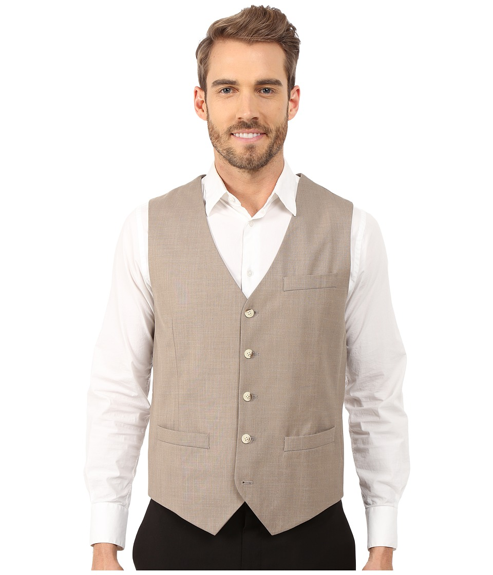 Perry Ellis - Solid Texture Suit Vest (Natural Linen) Men's Vest