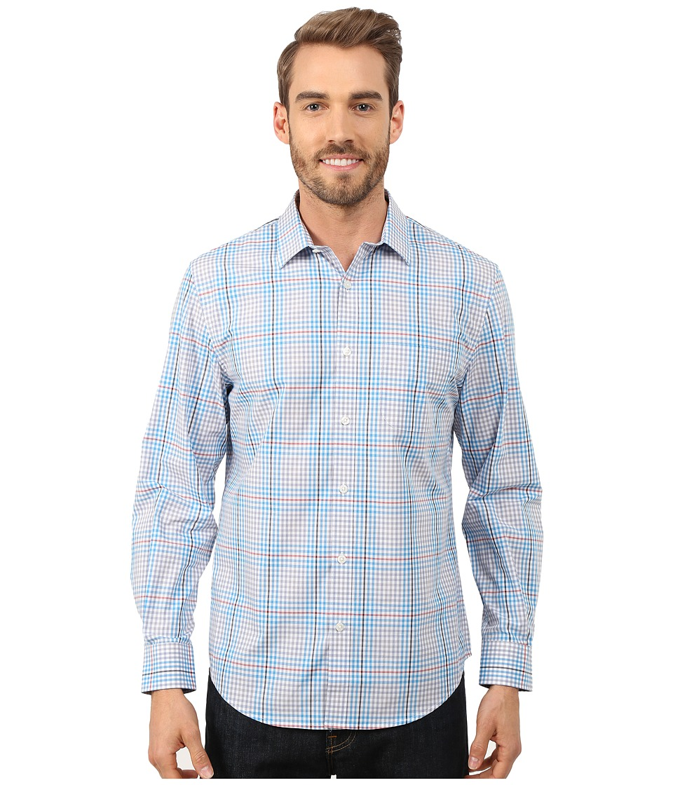Perry Ellis - Check Plaid Pattern Shirt (Light Tempest) Men's Clothing