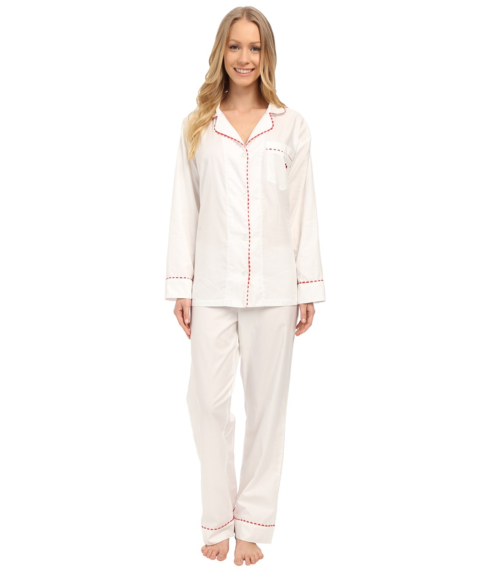 BedHead - Long Sleeve Classic Pajama Set with Heart Embroidered Pocket (Cream Red Rick Rack) Women's Pajama Sets