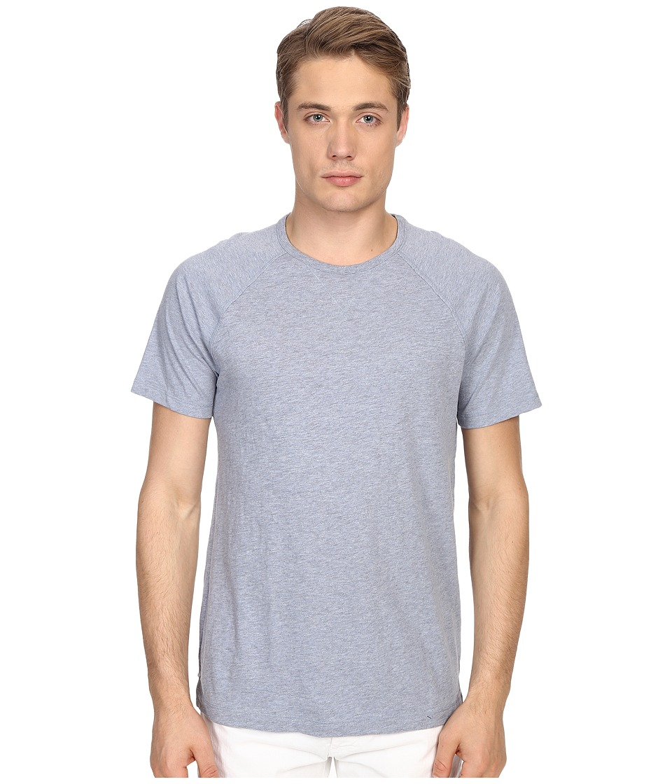 Vince - Cotton Slub Fabric Blocket Short Sleeve Raglan (Heather Denim) Men's T Shirt