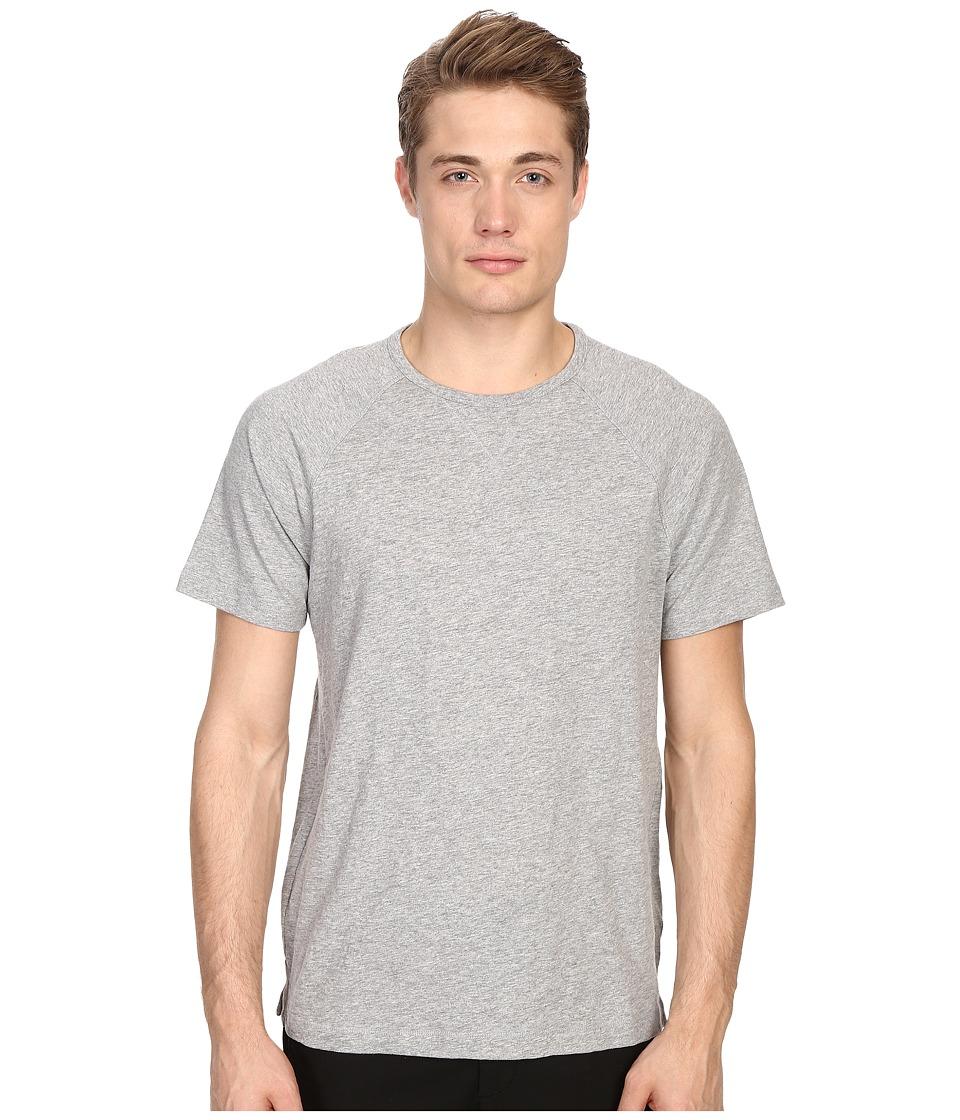 Vince - Cotton Slub Fabric Blocket Short Sleeve Raglan (Heather Steel) Men's T Shirt