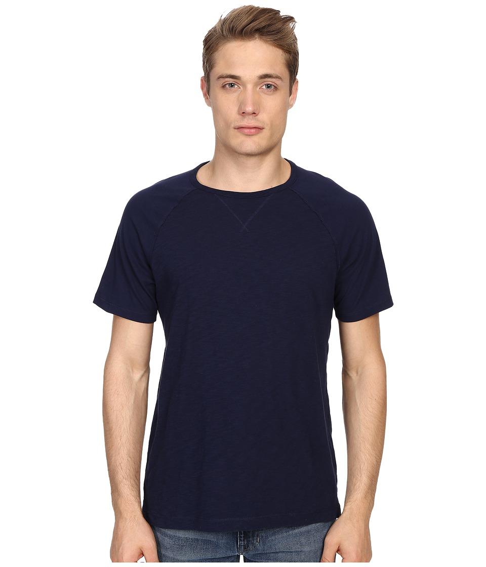 Vince - Cotton Slub Fabric Blocket Short Sleeve Raglan (Indigo) Men's T Shirt