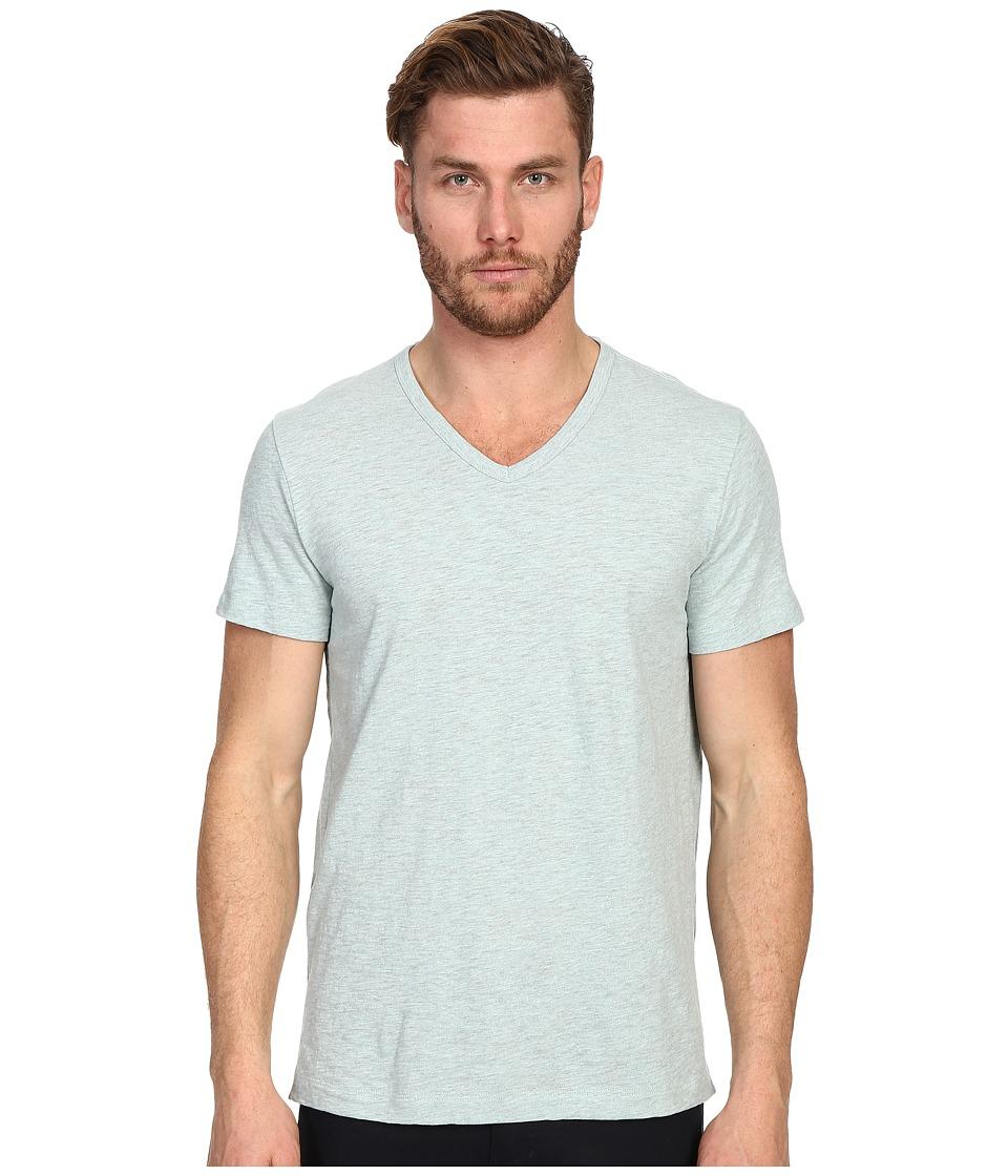Vince - Refined Slub V-Neck T-Shirt (Heather Aqua) Men's T Shirt