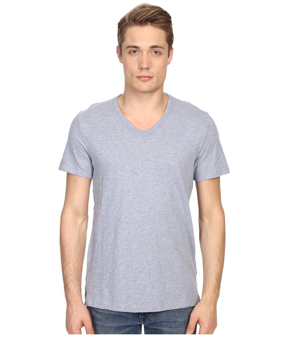 Vince - Refined Slub V-Neck T-Shirt (Heather Denim) Men's T Shirt