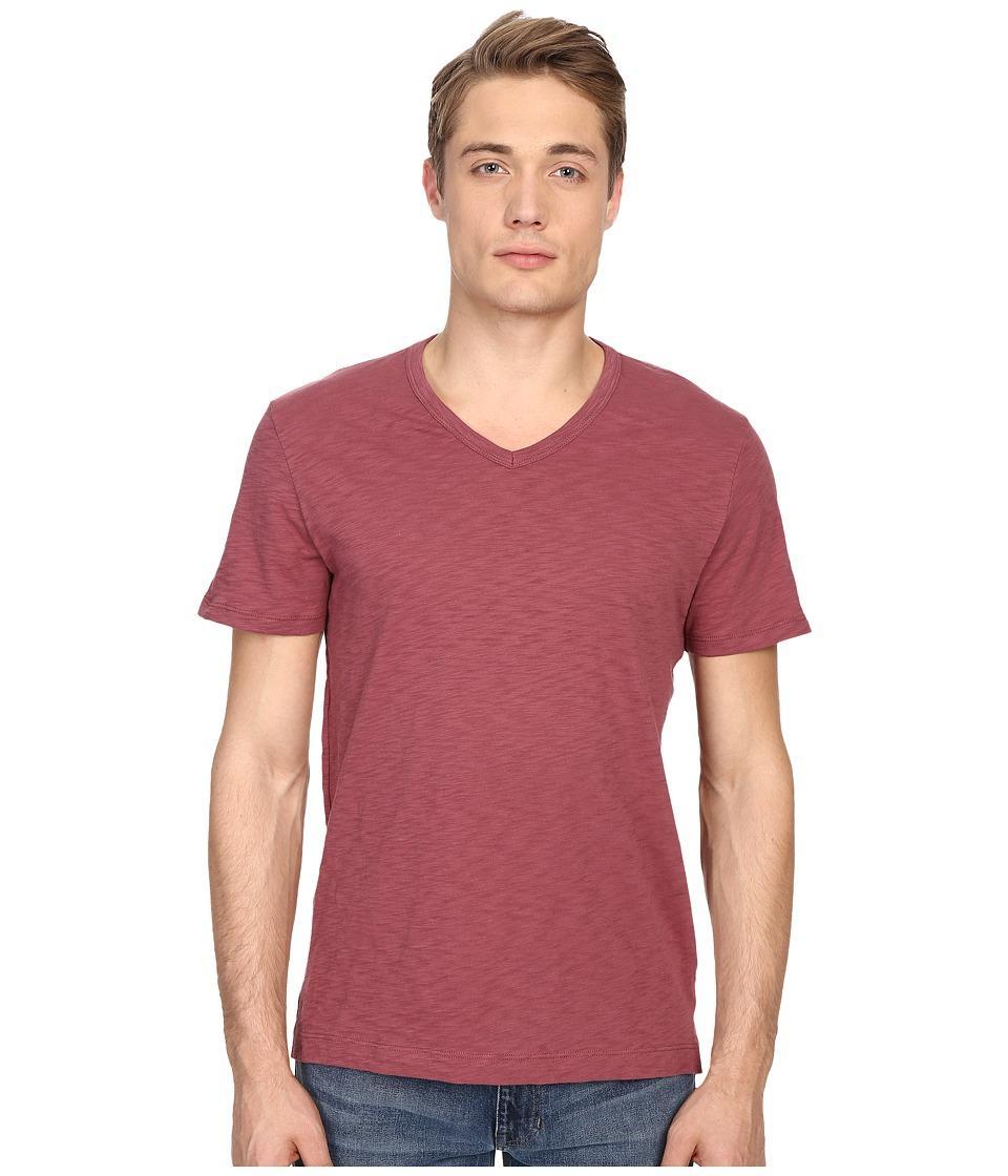 Vince - Refined Slub V-Neck T-Shirt (Currant) Men's T Shirt