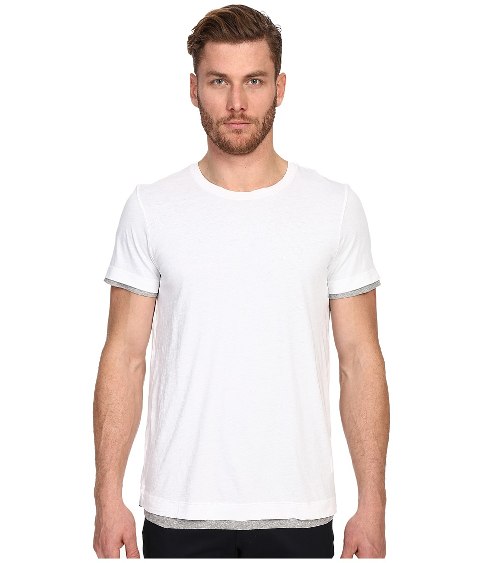 Vince - Pima Double Layer Short Sleeve Reversible Crew (Optic White/Heather Steel) Men's T Shirt