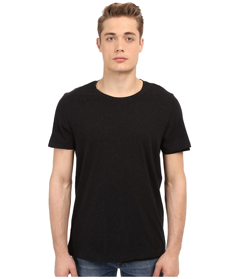 Vince - Pima Double Layer Short Sleeve Reversible Crew (Heather Black/Black) Men's T Shirt