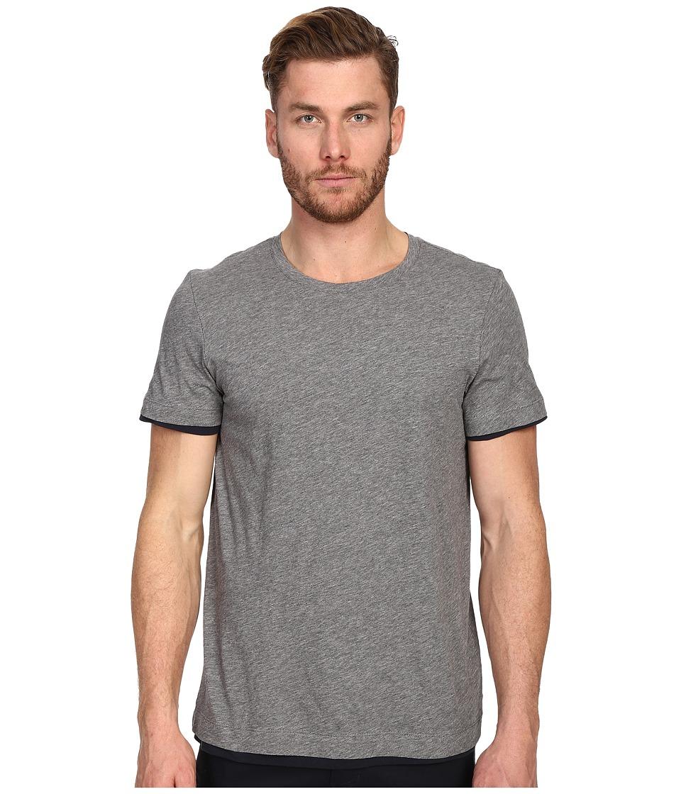 Vince - Pima Double Layer Short Sleeve Reversible Crew (Heather Cinder/Coastal) Men's T Shirt