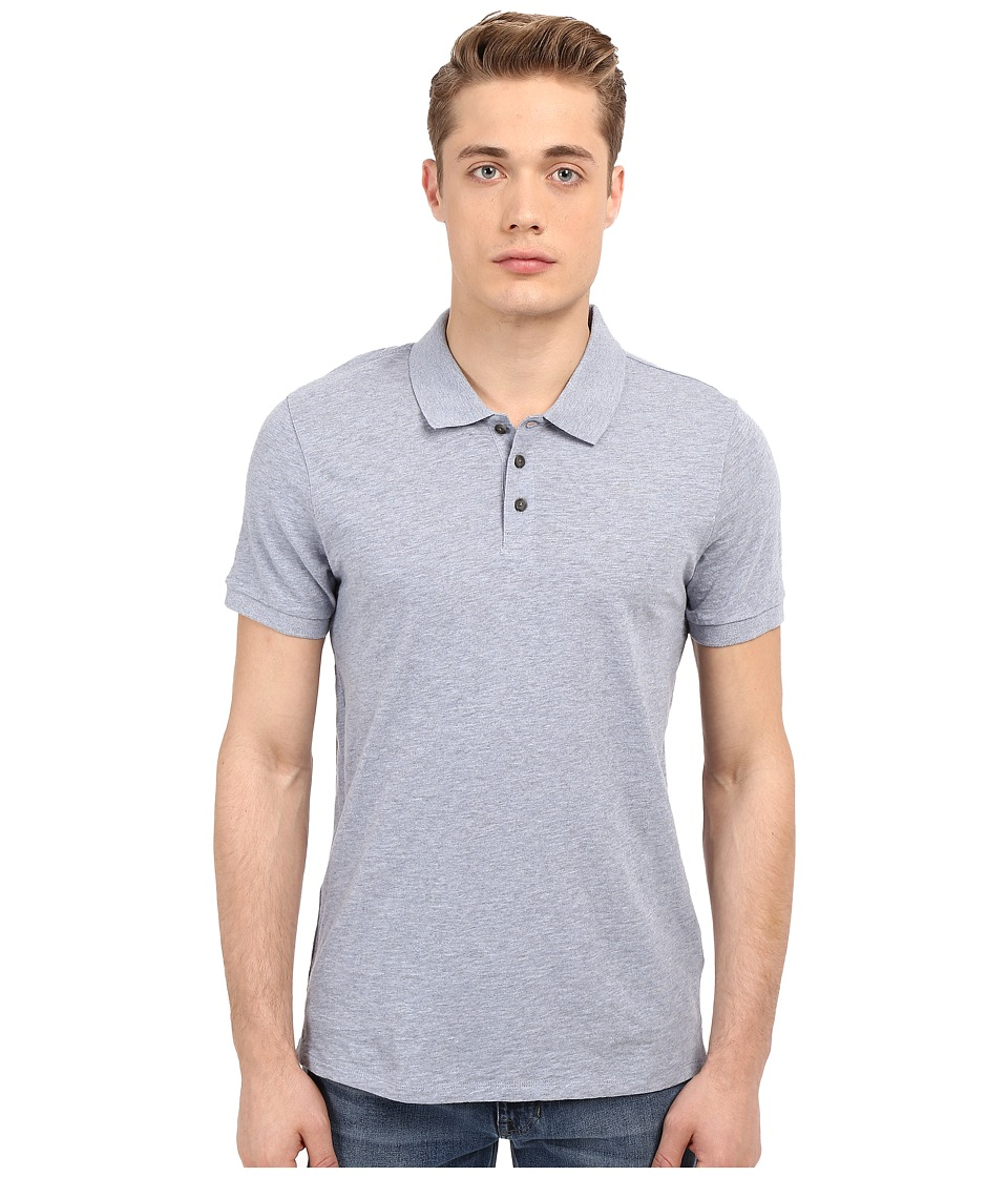 Vince - Short Sleeve Polo (Heather Denim) Men's T Shirt