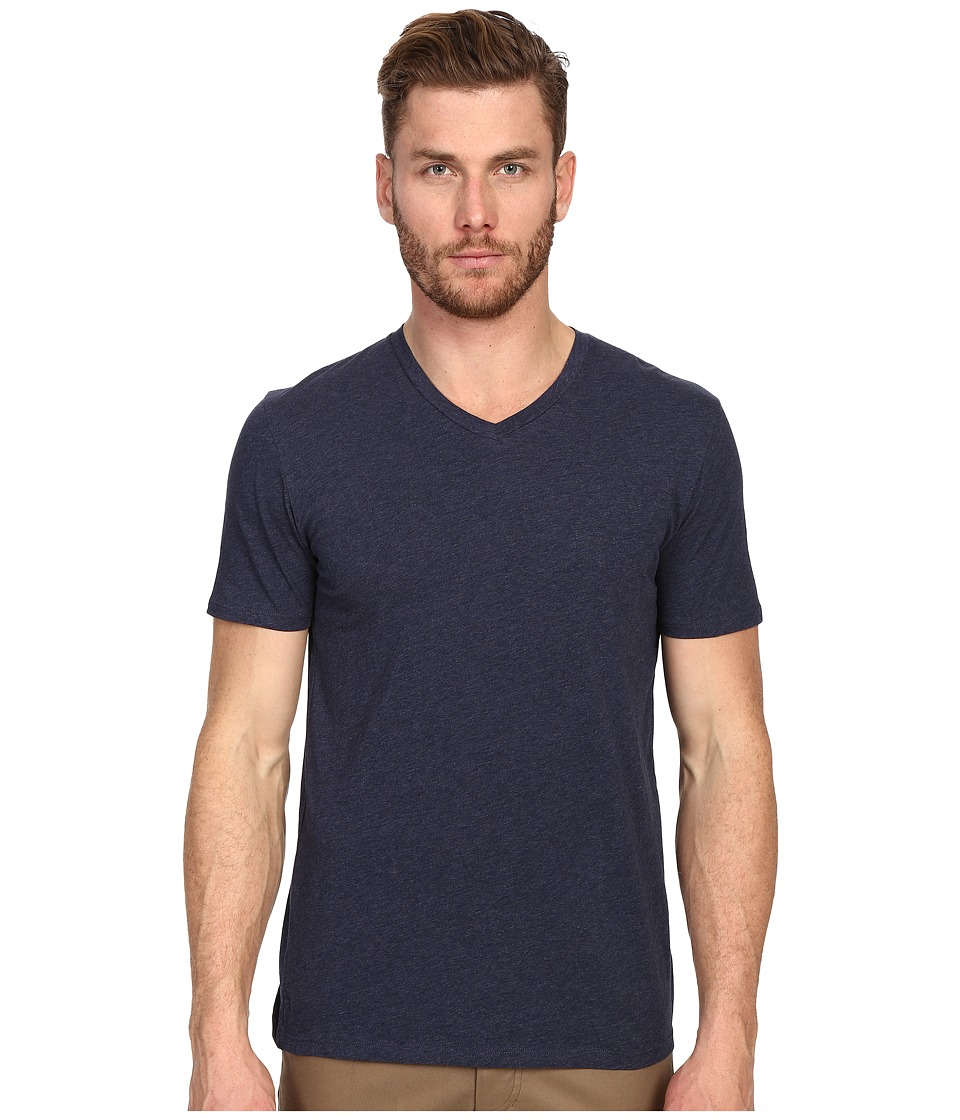 Vince - Short Sleeve V-Neck (Heather Indigo) Men's T Shirt